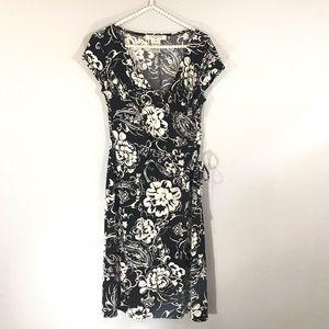Evan picone wrap dress floral black and white